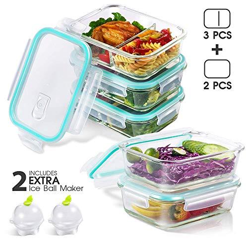 Masthome Frischhaltedosen mit Deckel, 1040 ml, Glas, für Mittagessen, Picknick und Reisen, 5 Stück