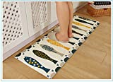 Kong EU Rutschfeste Fußmatte waschbar weicher Bereich Teppich Läufer Badematte Fisch Schöne Einrichtung-Küche Muster Teppich saugfähig die Sauberlaufmatten, Flanell, Fisch, 45x120cm