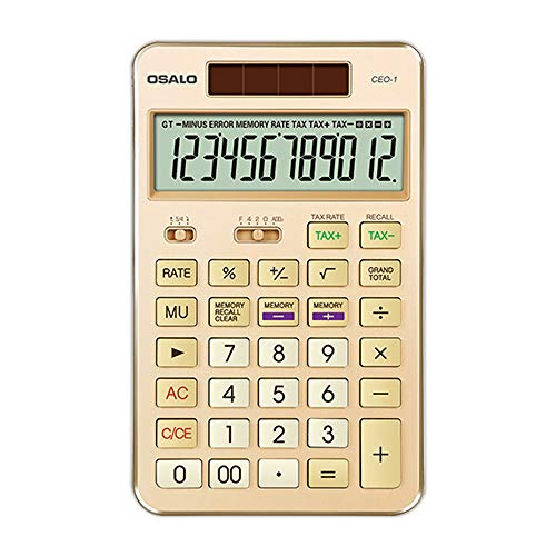 BAIYI Tax Rate Calculator, Scientific Calculator Tax Rate Funktion/Large Screen Display/Kunststoff-Knopf/Dual Power Supply 12-stellige Standard-Rechner