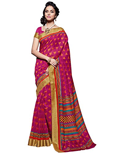 Shangrila Designer Multicolor Designer printed Lace Border. Kanjivaram-Silk Printed Designer Saree With Blouse Piece  available at amazon for Rs.560
