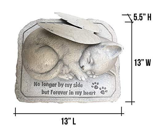 CT DiscountStore Gedenkstein für Katzen, kaltgegossen, Keramik, Gedenkstein für Garten Angel Cat with Wing