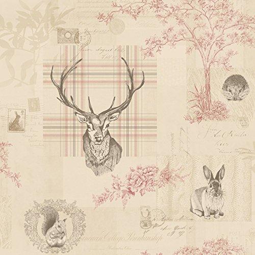 holden-papel-pintado-rojo-arandano-lino-9810-naturaleza-cuadros-escoceses-ciervo-arboles-escritura-k