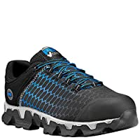 Timberland PRO Men's Powertrain Sport Alloy Toe EH Industrial & Construction Shoe, Black Ripstop Nylon With Blue, 9.5 M US