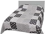 Bestlivings Tages-Decke XXL (220x240 cm) mit wattierter Zwischenlage, in verschiedenen gesteppten Patchwork Designs, Überwurf Steppbett (Sterne hellgrau)
