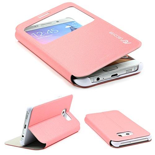 Urcover® Samsung Galaxy S6Edge Plus Carcasa View Case Funda Carcasa Galaxy S 6Edge Plus Funda Funda Protector de Color Rosa