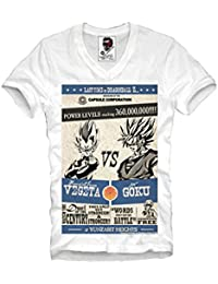 9cc8e704852d E1SYNDICATE V-NECK T-SHIRT TRAINING SON GOKU VS. VEGETA FIGHT DRAGONBALL GYM