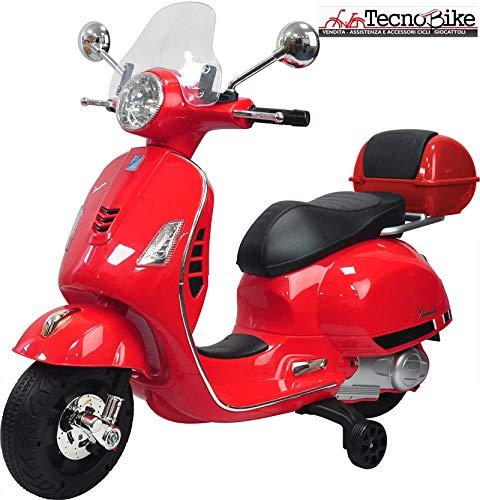 Tecnobike Shop Moto Elettrica Piaggio per Bambini Vespa GTS B70592 con Parabrezza e Bauletto Rotelle 12V luci LED Suoni (Rosso)