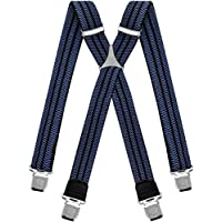 Mens braces wide adjustable and elastic suspenders X shape with a very strong clips Heavy duty (Blue Black)