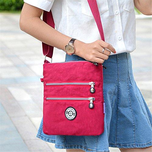Tiny Chou MULTILAYER Reißverschluss Taschen wasserabweisend Nylon Stoff Umhängetasche Schultertasche für Mädchen Marineblau
