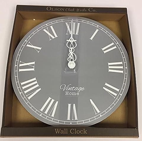 Vintage Style Kitchen Clock - Shabby Chic - Round Wall Clock - Silver Retro
