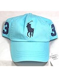 Ralph Lauren Polo Baseball Cap Big Pony Bleu clair Bleu lavable réglable NOUVEAU