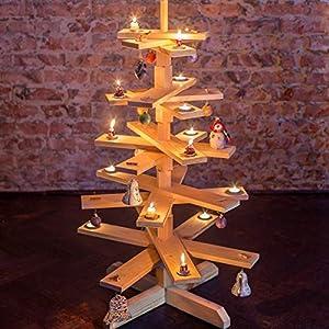 1 BestLoft Weihnachtsbaum aus Holz – Tannenbaum aus echter Kiefer unbehandelt (Höhe: 90cm)