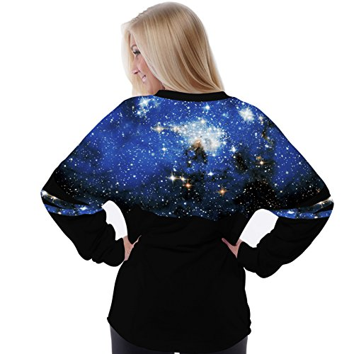 Jiayiqi Frauen Batwing Ärmel Lose Hemd Digital Drucken Lässigen Tops Blauen Galaxie