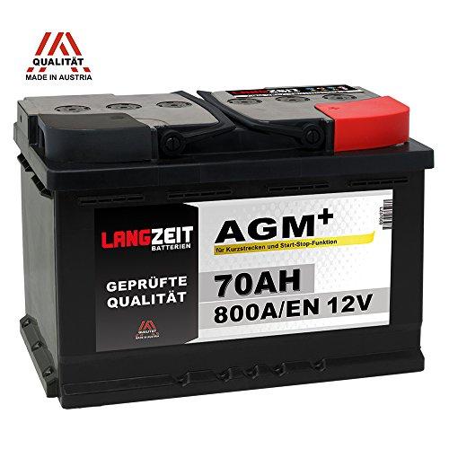 LANGZEIT AGM+ 70Ah 12V 800A/EN Start-Stop Autobatterie VRLA Batterie