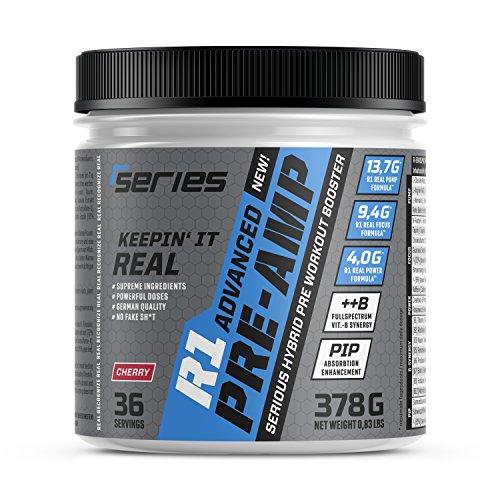 R-Series R1 PRE-AMP Kirsche | Pre-Workout Booster für Fitness und Training | Extrem Hochdosiert | Pump + Focus + Power | OHNE Creatin, OHNE Beta-Alanin | KEIN Kribbeln, KEIN Ausschlag, KEIN Crash | 378g = 36/18/12 Portionen je nach Dosierung