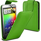 ( Green ) HTC Sensation XL G21 Protective Faux Leder Flip Case Hülle & LCD-Display Schutzfolie by ONX3
