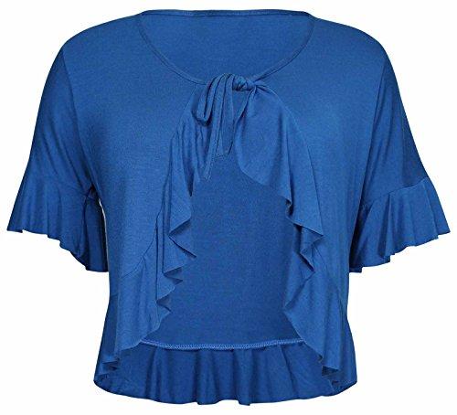 Neu Damen Übergröße Krawatte Rüsche Rüsche Schulterjacke Oberteile Damen Bolero Abgeschnitten Stretch Strickjacke Top - Blaugrün, 42 -