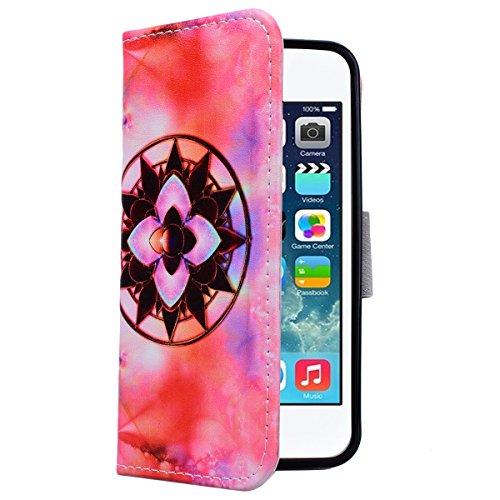 Yokata iPhone SE / iPhone 5 / iPhone 5s Hülle Leder Flip Wallet Case Ledertasche mit Kartenfach Ständer Halter Standfunktion Magnet und Weich Silikon Handyhülle Handy Etui Schutzhülle Protective Cover Mandala