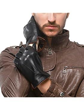 Los hombres de pantalla táctil nappaglo genuino cuero Nappa invierno cálido Guantes Guantes de conducir con forro...