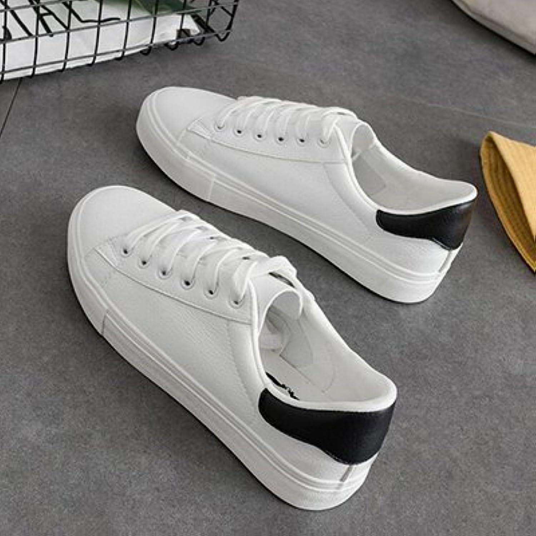 NGRDX&G Zapatos De Mujer Zapatos De Mujer De Cuero Pu Blanco Transpirable Zapatos Mujeres, Blanco Negro, 7.5