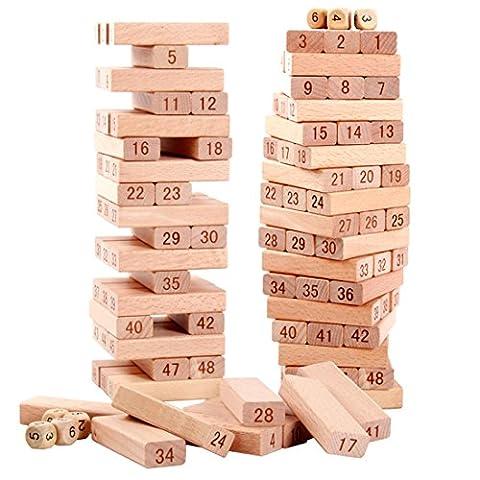 Coskiss Bois Beech 51pcs Solid Building Blocks peut mordre Safe Eco Friendly Baby Puzzle Jouets assemblés Inspiré Toddler Pretend Play (51pcs)