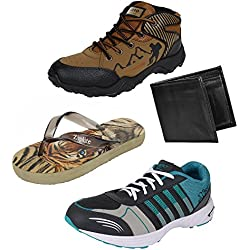 Earton Men's Combo Of 3 Shoes- 2 Sport Shoes , 1 Slipper & Wallet -8 Uk