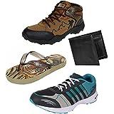 Earton Men Combo Pack Of 4 Sports Shoe With Wallet & Flip-Flops