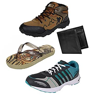 Earton Men Combo Pack of 4 Sports Shoe With Wallet & Flip-Flops (10 UK)