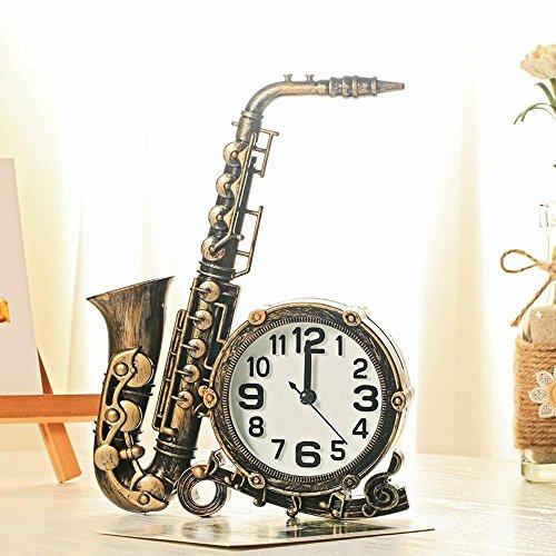 irugh Kaminuhren,Saxophon Modellierung Desktop-Uhr nach Hause Schlafzimmer Bett Uhr Ornamente 26 * 19cm