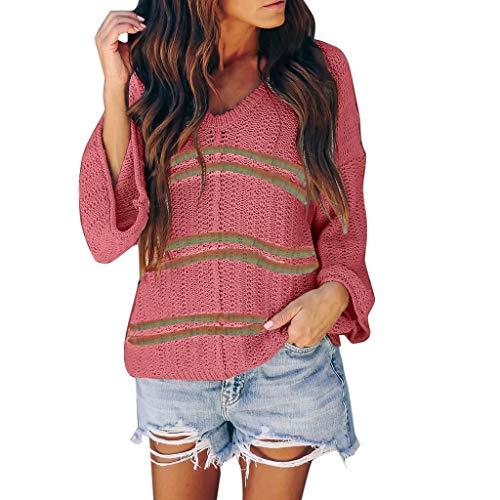 MOTOCO Damenmode Gemusterte V-Ausschnitt Langarm Pullover Damen Leichte Pullover Top Herbst und Winter Pullover(M,Pink)