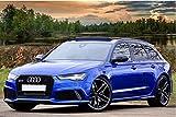 Zopix Poster Audi Rs6 Auto Blau Sportwagen Wandbild - Premium (45x30 cm, Versch. Größen) - Leinwand Alternative - Inklusive Poster-Stripes