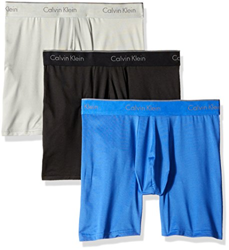 Calvin Klein Men's Underwear Microfiber Stretch 3 Pack Boxer Brief, Black/Cobalt Water/Grey Heather, Medium - Calvin Klein-microfiber-slip