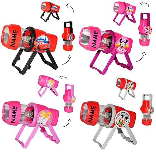 3 in 1: Kombi - Taschenlampe LED - für Mädchen - incl. Namen - zum Aufstellen oder als Tragelampe - für Kinder Lampe mit Projektor - Licht Auto Kindertaschenlampe - Minnie Mouse - Princess - Micky Maus / Projektor Campinglampe - Kinderlampe - Tischlampe Stehlampe (Mickey-mouse-lichter)