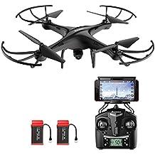 AMZtronics A15W Actualizada Drone con Cámara 720P HD, Dron WiFi FPV 2.4GHz 4CH 6-Axis Gyro RC, Quadcopter Videocámara Cuadricóptero RTF Estabilización de Altitud UFO Hover, Modo Sin Cabeza, Flips 3D