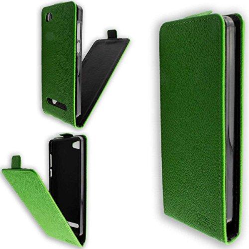 caseroxx Flip Cover & Bildschirmschutzfolie für Archos 45b Neon, Set (Flip Cover in grün)