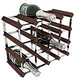 RTA GLOBAL Weinregal für 16Flaschen, verzinkter Stahl/Mahagonibraune Kiefer, Braun
