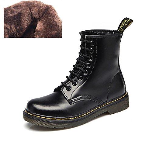 uBeauty - Bottes Femme - Martin Bottes - Boots Flattie Sport - Chaussures Classiques - Bottines À Lacets Velours Noir A