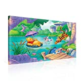 Disney Winnie Pu Bär Ferkel I-Aah Tiger Leinwand Bilder (PPD2156O1FW) - Wallsticker Warehouse - Size O1 - 100cm x 75cm - 230g/m2 Canvas - 1 Piece