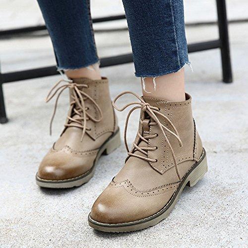 Damen Klassic Warme Martin Stiefel Blockabsatz Britische Schuhe mit Schnürsenkel Khaki