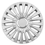 15 Zoll Radzierblenden ENZO SILVER (Silber mit Chromring). Radkappen passend für fast alle OPEL wie z.B. Astra H