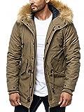 One Public MEGASTYL Herren Männer Winterjacke mit Abnehmbaren Kunstfell und Schnürdetails Rot Braun Khaki, Größe:XL, Farbe:Camel