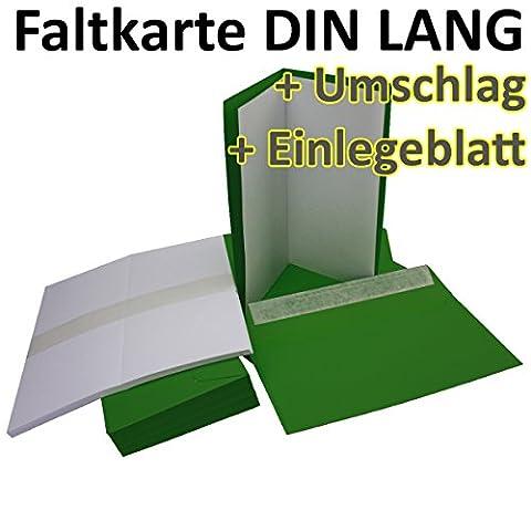 50 Stück // SET! Faltkarten + Umschläge + Einlegeblätter DIN Lang in Dunkel-Grün (Einleger Weiß) // Größe: 21 x 21 cm (gefaltet 10,5 x 21 cm) // 240 g/qm + 110 g/qm // Aus der Serie FarbenFroh von NEUSER!