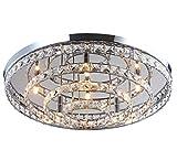 LED Deckenleuchte Licht Glas Kristall Kronleuchter Flur Leuchte Deckenlampe Lüster Wohnzimmer Design Modern XL Ø 60cm 6xG9 Fassungen