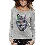 Camiseta estampado Bio gris manga larga–Lobo–Mujer de la XS a la XL gris multicolor...