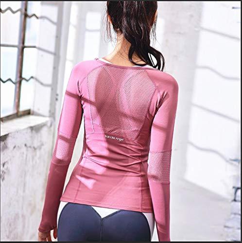 bodengjiudian Trainingskleidung Herbst und Winter weibliche langärmeligen Blazer Läuferinnen T-Shirt fest sexy Netz Wicking rot mit Langen Ärmeln Yoga Kleidung