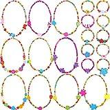 10 Pièces Colorées Bijoux en Bois Collections Petite Fille Princesse Collier Bracelet Faveur de Fête Ensemble (Style 1)