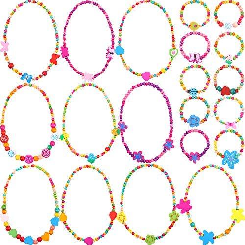 Bememo 10 Stücke Bunte Hölzerne Halskette Schmuck Sammlungen Kleines Mädchen Party Gefälligkeit Prinzessin Halskette Armband Set (Stil 1)
