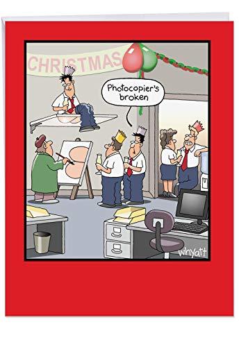 Hysterischen Christmas Karte: Office Party Kopieren Weihnachten mit einem Zerbrochenen Foto, Copier 's Ersatz, mit Umschlag (für große: 21,6x 27,9cm) ()