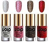#6: Volo Professionally Used Glitter Shine Nail Polish Combo Pack of 4(Silver Glitter, Pink Glitter, Dark Grey Glitter, Red Glitter)
