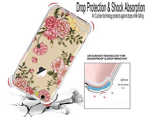 Coque iPhone 7, LUOLNH Absorption des chocs TPU Bumper Protection Goutte ,Résistant aux rayures pour Apple iPhone 7 Silicone Étui Housse Protecteur -Multicolor ananas fleur rose